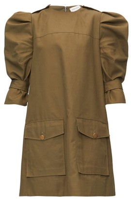 Alexander McQueen Puff-sleeve Cotton-canvas Cargo Dress - Khaki
