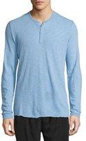ATM Anthony Thomas Melillo Long-Sleeve Slub Henley Shirt, Natural