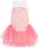 DELPOZO Tulle And Jacquard Mini Dress - Pink
