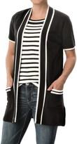 August Silk Open-Front Cardigan Sweater - Short Sleeve (For Women)