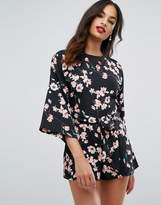 Asos Romper with Kimono Sleeve and Self Belt Tie in Floral Print