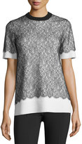 Michael Kors Short-Sleeve Lace Over Cashmere Sweater, Black/White