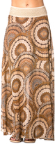 Brown Geo Banded Waist Maxi Skirt - Plus Too