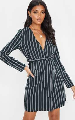 PrettyLittleThing Green Stripe Tie Blazer Dress