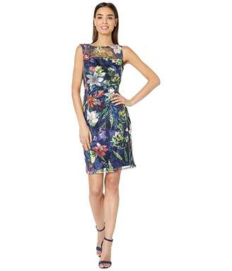 Tahari ASL Sleeveless Embroidered Mesh Floral Dress