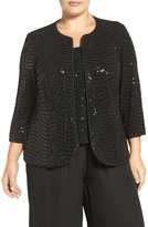 Alex Evenings Plus Size Women's Sequin Three-Quarter Sleeve Twinset