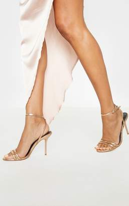 PrettyLittleThing Rose Gold Twin Strap Tube Strappy Sandal