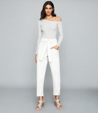 Reiss Jessie - Ribbed-knit Bodysuit in Grey