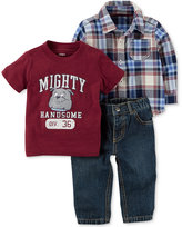 Carter's 3-Pc. Cotton Mighty Handsome T-Shirt, Plaid Shirt & Jeans Set, Baby Boys (0-24 months)