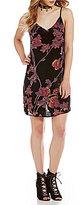 GB Floral Burnout Velvet V-Neck Sleeveless Slip Dress