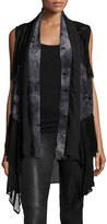 Alberto Makali Tie-Dye Panel Sleeveless Cardigan, Black