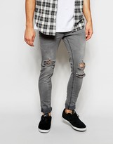 Pull&bear Ripped Super Skinny Fit Jeans - Grey