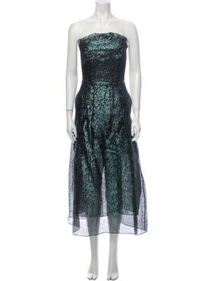 Roland Mouret Strapless Midi Length Dress w/ Tags Green