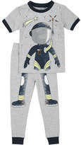 Petit Lem Astronaut Top & Pants Pajama Set, Gray, Size 5-6X