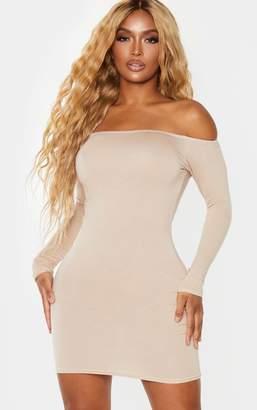 PrettyLittleThing Shape Stone Jersey Bardot Bodycon Dress