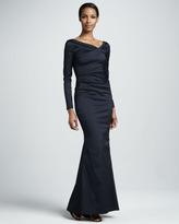 Talbot Runhof Long-Sleeve Ruched Mermaid Gown