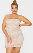 Globalle Plus Nude Lace Ruched Detail Tie Shoulder Bodycon Dress
