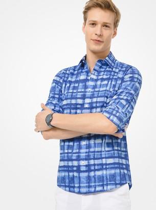 Michael Kors Slim-Fit Painterly Plaid Stretch-Cotton Shirt