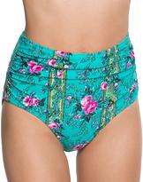 Betsey Johnson Emerald In Bloom High-Waist Bikini Bottoms