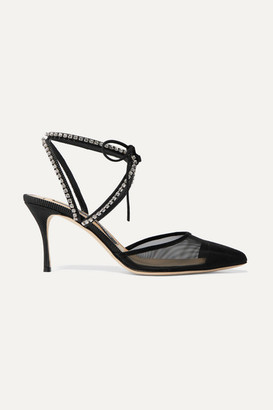 Sergio Rossi Crystal-embellished Faille-trimmed Mesh Pumps