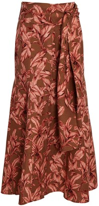 Significant Other Sienna Tie-Waist Printed Midi Skirt