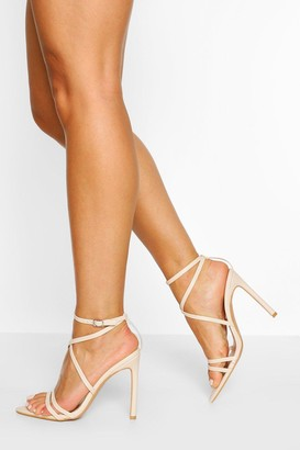 boohoo Wide Fit Pointed Toe Strappy Heel