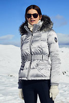 Classic Women's Petite Hooded Down Jacket-Light Silver Metallic