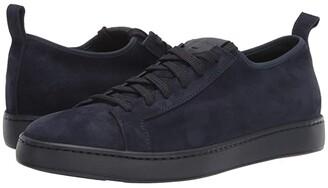 Santoni Cleanic Stretch Suede Lace-Up Sneaker (Navy) Men's Shoes