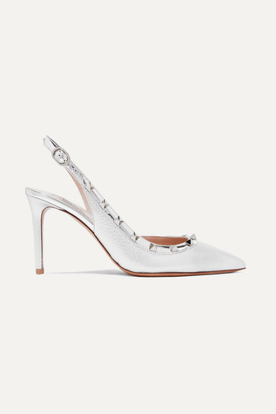 Valentino The Rockstud Metallic Textured-leather Slingback Pumps - Silver