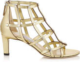 Jimmy Choo TINA 65 Roman Gold Metallic Nappa Sandals with Silver Studs