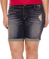 Arizona Destructed Roll-Cuff Bermuda Shorts - Juniors Plus