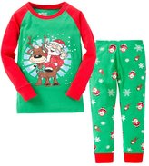 SS&CC Girls' Christmas Printing Long Sleeve 2 Piece 100% Cotton Pajama set(2-7 Years)