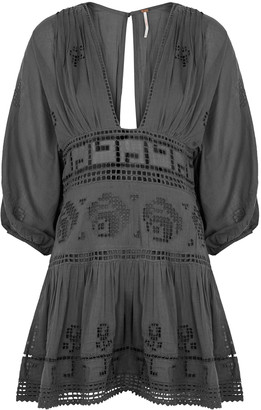 Free People Tea Time Grey Embroidered Cotton Mini Dress