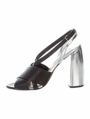 Miu Miu Leather Slingback Sandals Black