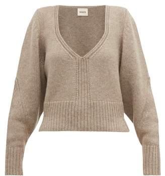 KHAITE Charlette V-neck Cashmere Sweater - Womens - Beige