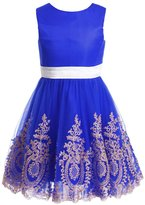 FAIRY COUPLE Girl's Gold Lace Appliqued Short Flower Girl Dress K0177