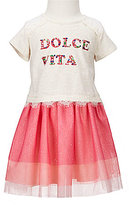 Rare Editions Little Girls 2T-6X Knit/Tulle Embellished A-Line Dress