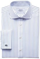 Charles Tyrwhitt Exta Slim Fit Spread Collar Non-Iron Stripe White and Navy Cotton Dress Casual Shirt French Cuff Size 15.5/33