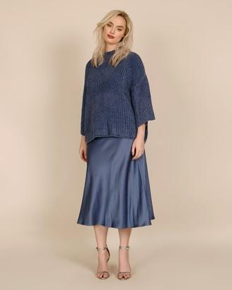 Sally LaPointe Stretch Crinkle Satin Slip Skirt