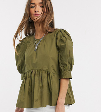 Only Petite poplin smock top with puff sleeves in khaki