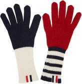 Thom Browne Tricolor Rib Cashmere Funmix Four Bar Gloves