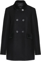 Maje Galakie Double-Breasted Cotton-Blend Velvet-Trimmed Wool-Blend Felt Coat