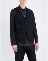 Ann Demeulemeester Striped textured sleeveless cotton waistcoat
