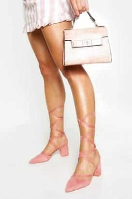 boohoo Pointed Toe Wrap Up Low Block Heels