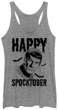 Fifth Sun Star Trek Women's Happy Spocktober Halloween Bats Tri-Blend Tank Top
