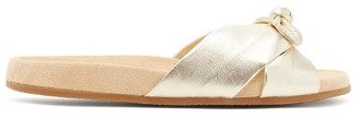 Charlotte Olympia Knotted Metallic-leather Slides - Womens - Gold