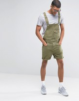 Asos Denim Short Overalls In Khaki