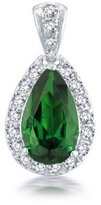 Bling Jewelry Simulated Emerald CZ Teardrop Bridal Pendant Rhodium Plated