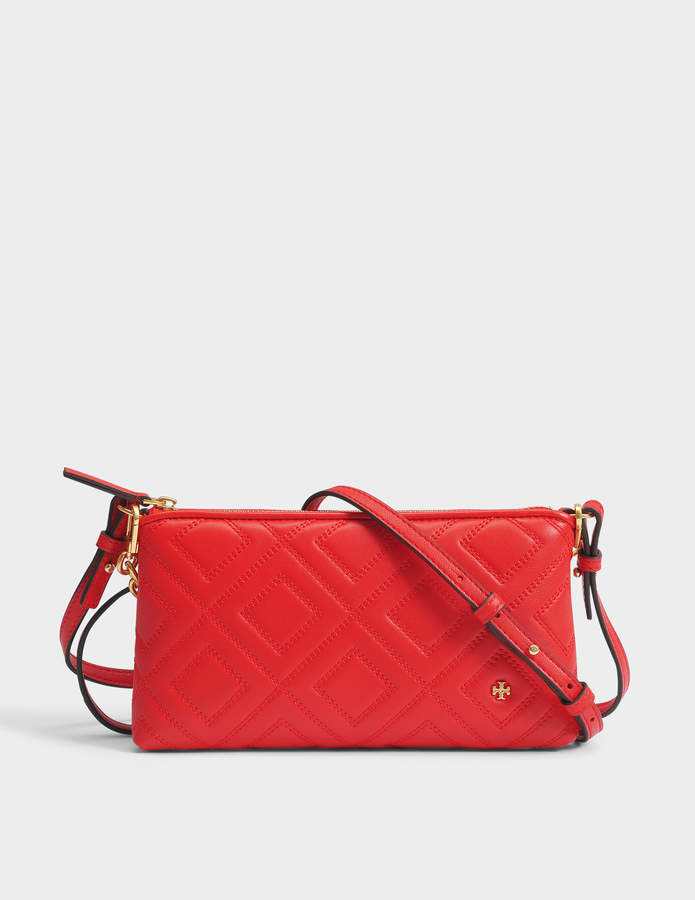 Tory Burch Fleming Chain Crossbody Bag in Exoctic Red Lambskin Leather