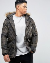 Brave Soul Camo Quilted Parka With Faux Fur Trim Hood